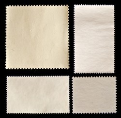 Set of post stamps reverse side isolated on black