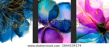 Set of Poster Fluid art background with watercolor, alcohol ink stain, spots elements with purple, pink, blue color. Elegant gold lines wallpaper. Poster, texture, print with copy spase