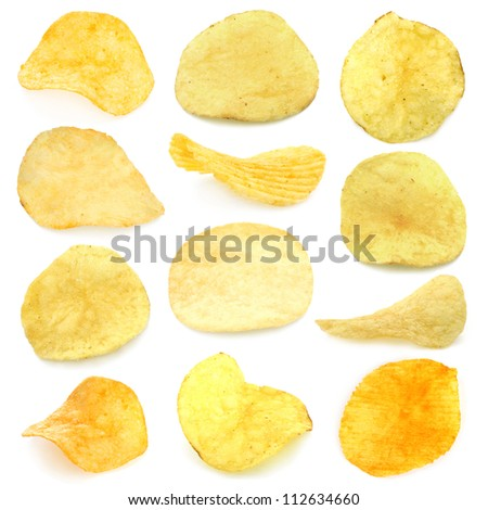 Set of potato chips close-up