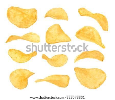 set of potato chips close up on ...