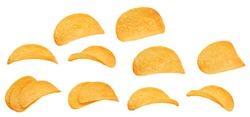 Set of potato chips isolated white background