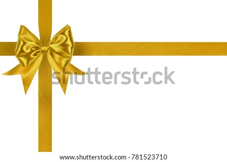 Set of present golden satin crosswise ribbons with ribbon bows isolated on white background #781523710