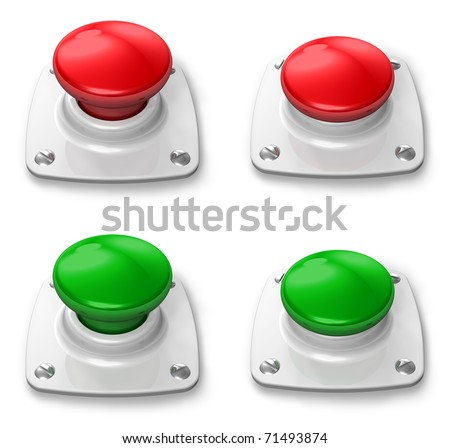 Set of pressed and unpressed buttons