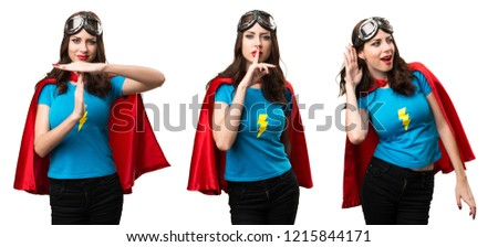 Set of Pretty superhero girl making silence gesture and time out gesture #1215844171
