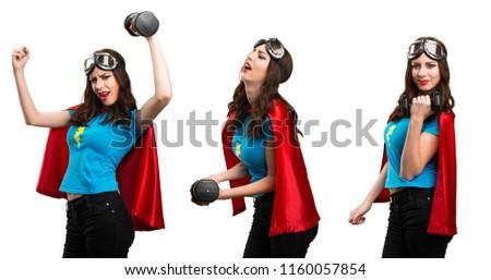 Set of Pretty superhero girl making weightlifting