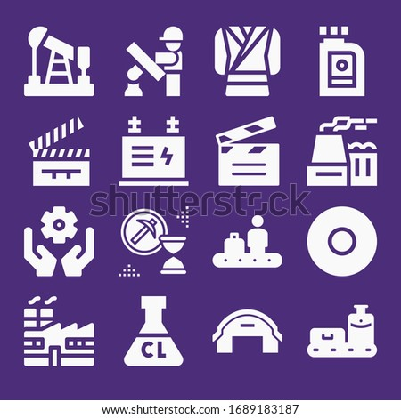Set of 16 production filled icons such as coat, oil, clapperboard, transformer, recording, hangar, engineering, factory, engineer, nuclear plant, mining, ultra chlorine