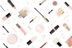 set of professional decorative cosmetics, makeup tools and accessory isolated on white background. beauty, fashion and shopping concept. flat lay composition, top view