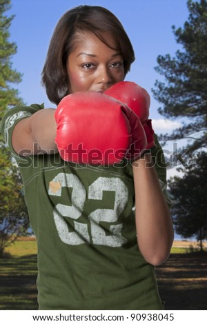 Set of professional sports boxing gloves in action