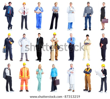 Set of professional workers business people. Isolated over white background.