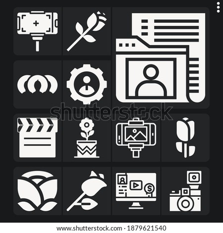 Set of 13 prominence filled icons such as rose, lomography, smartphone, flower, browser, youtuber, selfie, filming clapperboard tool, user Photo stock ©