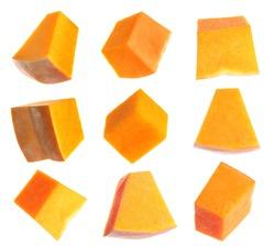 Set of pumpkin pieces on white background