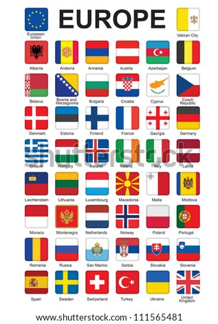 set of push buttons with flags of Europe