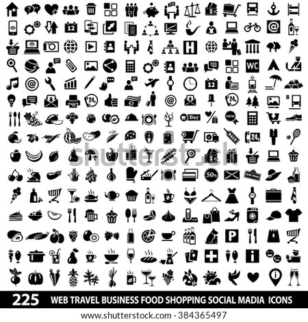 Set of 225 Quality icon Social Media icons, Web icons, Food icons, Shopping, Mobile icons, Travel icons, Camping icons. Icons set jpeg. Icons set image. Icons set illustration