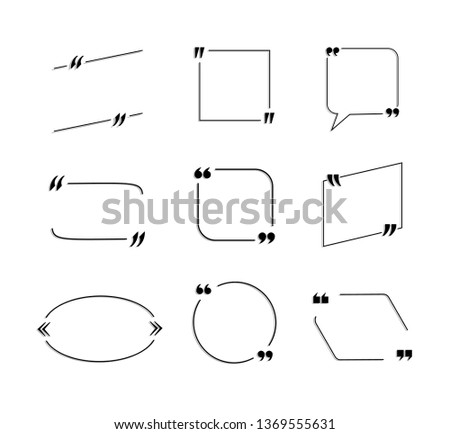 Set of Quote Frames with Shadows Isolated on White Background, Black Lines.
