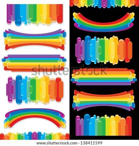 Set of Rainbow Design Elements, Banners, Templates. Collection