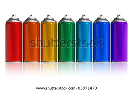 Set of rainbow paint spray cans isolated on white reflective background