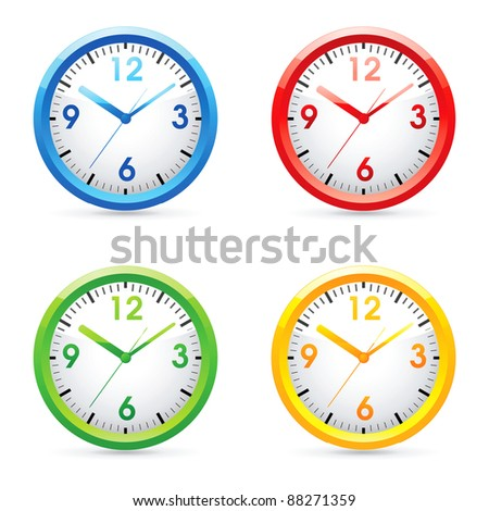 Set of raster color bright wall clock .