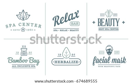 Set of Raster Spa Beauty Yoga Sport Elements Illustration can be used as Logo or Icon in premium quality
