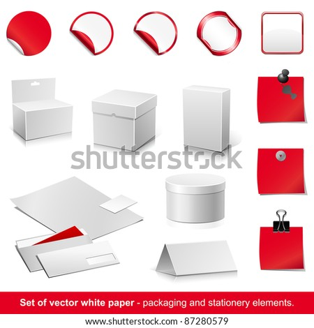 Set of raster white and red paper - packaging and stationery elements.
