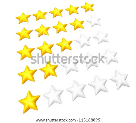Set of rating stars in rows. From one to five. Isolated on white.