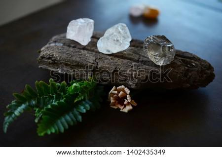 Set of 3 Raw Crystals: Clear Quartz, Smokey Quartz, Rose Quartz. Positivity Crystals, Raw Assortment of Healing Crystals on wood slab. Natural healing reiki energy, meditation stones.  #1402435349