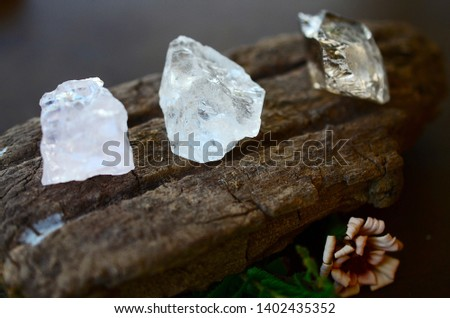Set of 3 Raw Crystals: Clear Quartz, Smokey Quartz, Rose Quartz. Positivity Crystals, Raw Assortment of Healing Crystals on wood slab. Natural healing reiki energy, meditation stones.  #1402435352