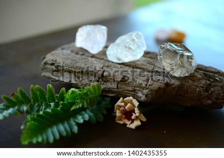 Set of 3 Raw Crystals: Clear Quartz, Smokey Quartz, Rose Quartz. Positivity Crystals, Raw Assortment of Healing Crystals on wood slab. Natural healing reiki energy, meditation stones.  #1402435355