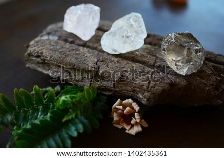 Set of 3 Raw Crystals: Clear Quartz, Smokey Quartz, Rose Quartz. Positivity Crystals, Raw Assortment of Healing Crystals on wood slab. Natural healing reiki energy, meditation stones.  #1402435361