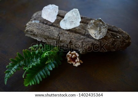 Set of 3 Raw Crystals: Clear Quartz, Smokey Quartz, Rose Quartz. Positivity Crystals, Raw Assortment of Healing Crystals on wood slab. Natural healing reiki energy, meditation stones.  #1402435364