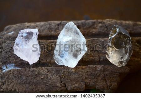 Set of 3 Raw Crystals: Clear Quartz, Smokey Quartz, Rose Quartz. Positivity Crystals, Raw Assortment of Healing Crystals on wood slab. Natural healing reiki energy, meditation stones.  #1402435367