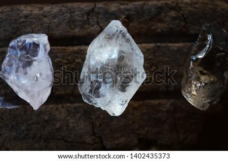 Set of 3 Raw Crystals: Clear Quartz, Smokey Quartz, Rose Quartz. Positivity Crystals, Raw Assortment of Healing Crystals on wood slab. Natural healing reiki energy, meditation stones.  #1402435373