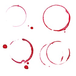 Set of Real red wine stain isolated on white.
