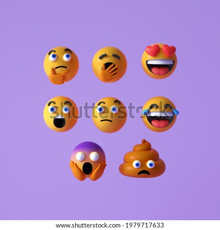 Set of Realistic Emoji or emoticon faces icon. Floating Emojis or emoticons with surprise, funny, and laughing isolated on purple background. 3d render illustration.