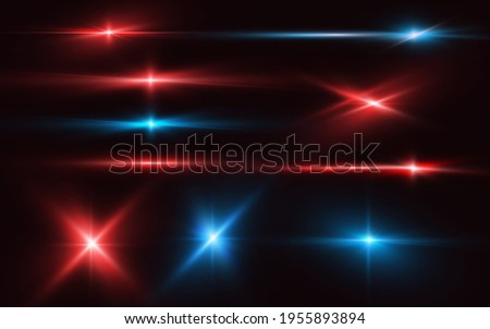 Set of realistic light glare, neon highlight. Collection of bright lens flares. Lighting effects of flash. Red and blue glitter shining stars, glowing sparks on black background. JPG illustration Сток-фото ©