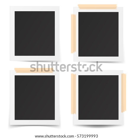 Set of realistic old photo frames isolated on white background.  3D illustration.