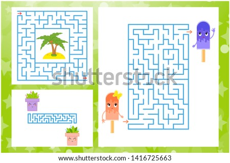 Set of rectangular and square labyrinths with characters. Game for kids. Puzzle for children. One entrances, one exit. Labyrinth conundrum. Flat  illustration  on white background.