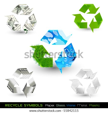 set of recycle symbols (paper, water, glass, plastic, metal) raster version