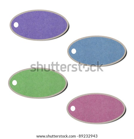 Set of recycled tag paper on white background. - stock photo