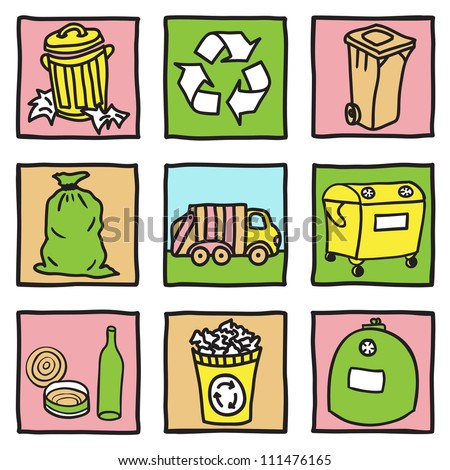 Set of recycling icons - hand drawn illustration