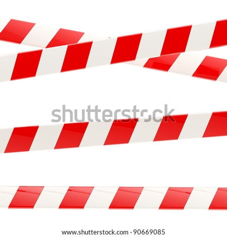 Set of red and white glossy barrier tapes isolated on white