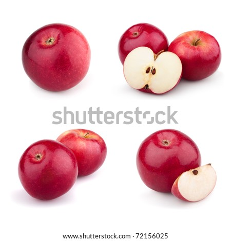 Set of red apples isolated on a white background