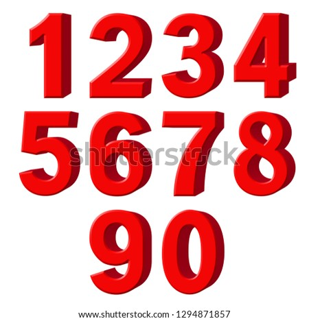 Set of red arabic numbers, extrusion perspective on right, isolated on white background, 3d illustration