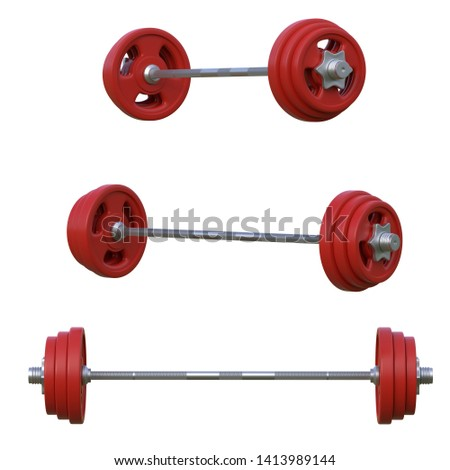 Set of red barbells isolated on white background. Fron view and side view. 3d rendering illustration