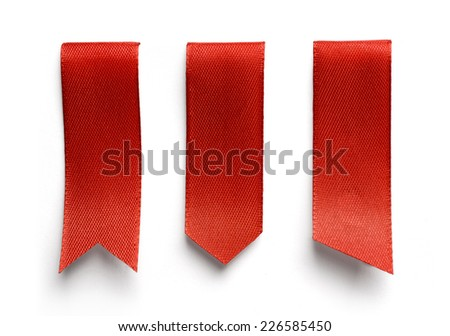 Set of red bookmarks isolated on white background