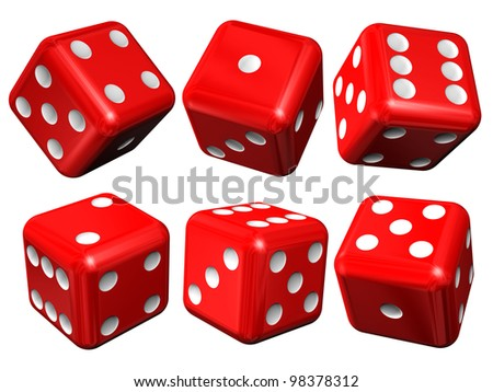Set of red casino craps or dices, isolated over white