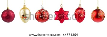 Set of red Christmas balls isolated on white background