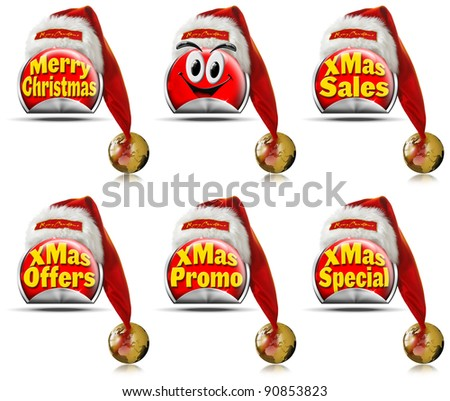 Set of red Christmas stickers for sale with advertisements