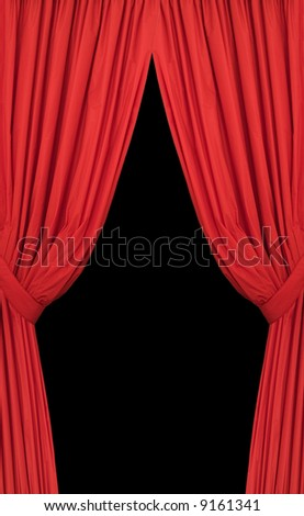 Set of red curtains placed on a black background - stock photo