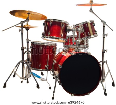 Set of Red drums isolated with clipping path
