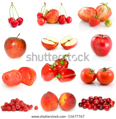 Set of red fruits, berries and vegetables isolated on the white background